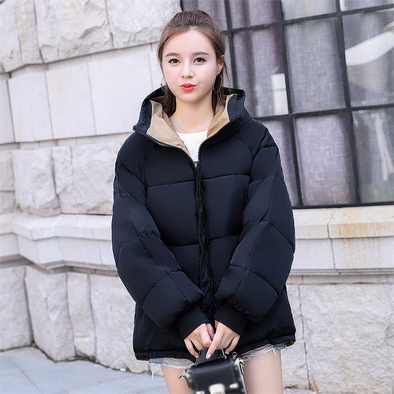 Solid Hooded Thicken Warm Short Down Coats Women Korean Style Zippers Pockets Slim Bread Coats Female Fashion Hardy Jackets New