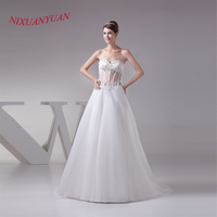 NIXUANYUAN See Through Tulle Bride Wedding Gown A Line Sexy Wedding Dress 2017 Appliques Beaded Vestido