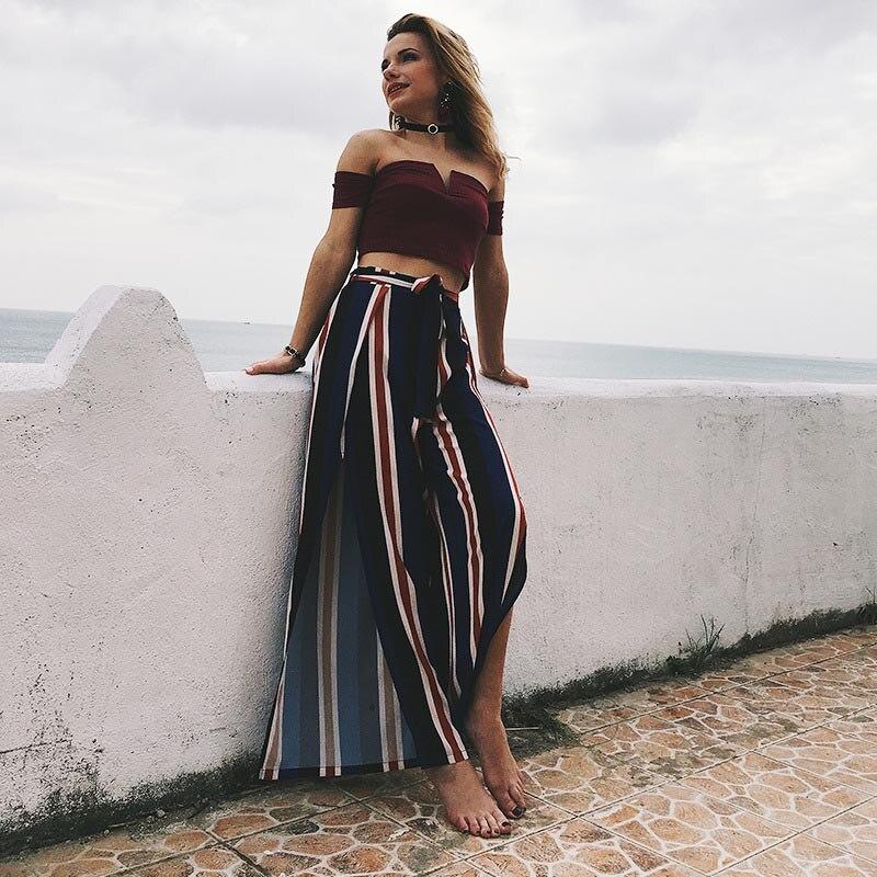 Women Striped   Wide     Leg     Pants   With Belt High Waist Split Summer Beach Casual Trousers FS99
