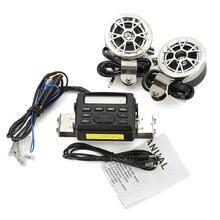 Sistema de Radio Amplificador 12 V Manillar de la motocicleta de Audio de Sonido de banda Completa de FM MP3 Estéreo 2 Altavoces ATV Bici de La Suciedad de 3.5mm AUX Jack