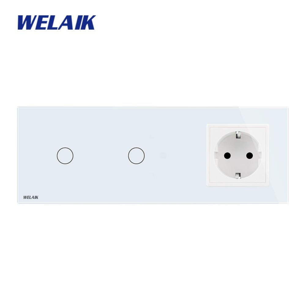 WELAIK 3Frame Crystal Glass Panel Wall Switch EU Touch Switch EU Wall socket 1gang 1way AC110