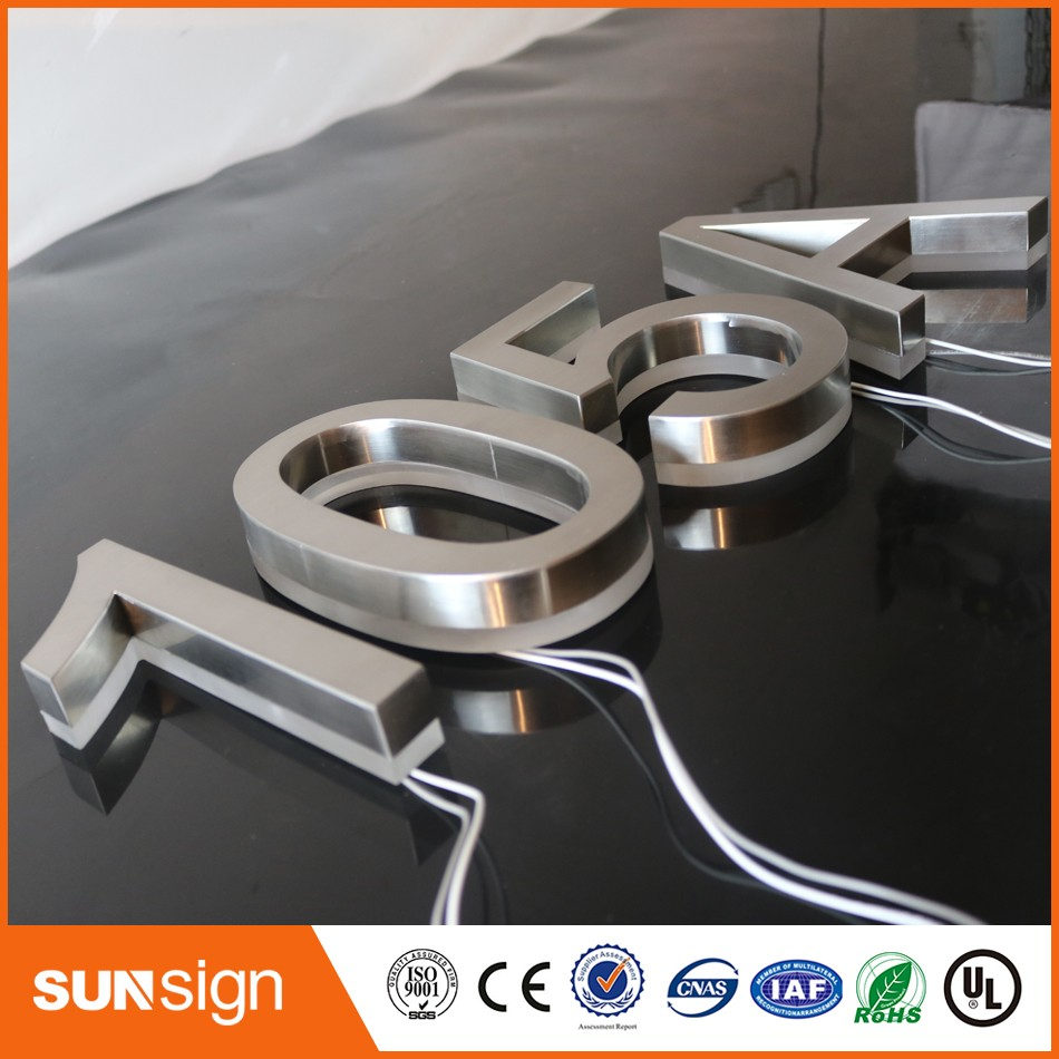 Customized Led Letter Backlit Stainless Steel Channel House Number