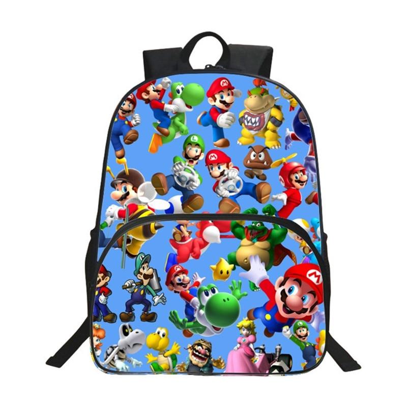 2017 Children School Bags Cartoon Doll Super Mario Printing Backpacks For Boys Girls Mario Bros Bag Students Birthdays Gifts