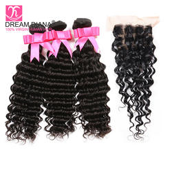 DreamDiana бразильская глубокая волна с закрытием кудрявые волосы без повреждения кутикулы Связки с закрытием 100% натуральные волосы Tissage Bresiliens