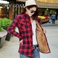 Outono Inverno de Veludo grosso Camisa Xadrez de Flanela de Algodão Quente Longo-sleeved Mulheres Blusas Tops Camisa