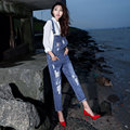 European and American Women's Hole Jeans Pants BF Loose Denim Overalls Fashion Loose Coveralls Pants