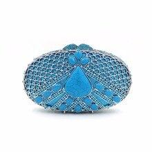 Luxury crystal red high grade gem diamond evening bag clutch bag banquet handbag wedding prom red carpet  hollow blue handbag