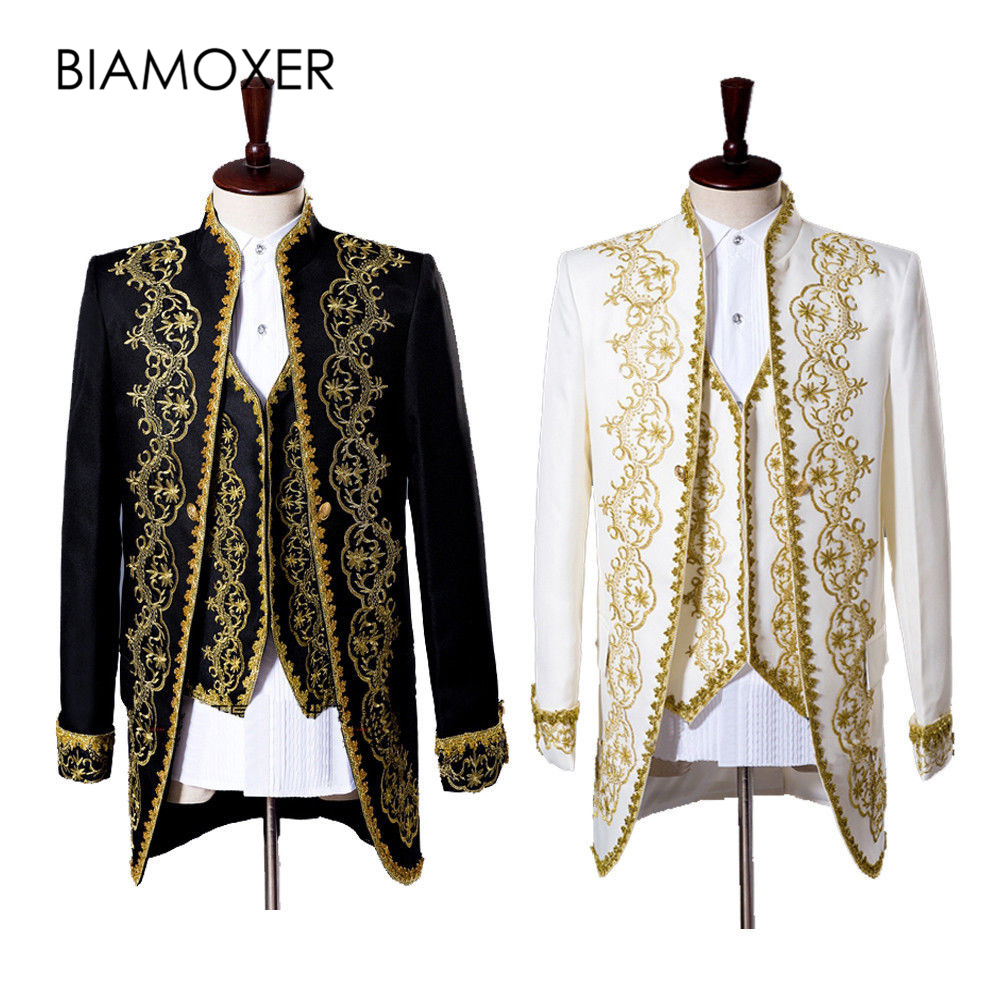 Biamoxer 2 colors Black White Medieval King Prince Jacket Pant Full Set Mens Halloween Party Cosplay Costume m-2xl
