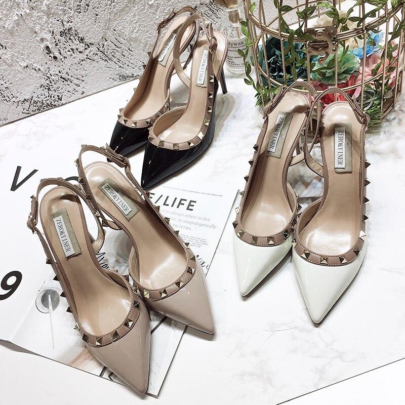 4 Cuero 5 Alto Remache 1 Nueva Tendencia Salvaje Sheepskin 2 Sandalias Las 3 Mujer De Zapatos Verano Tacón Señalaron Los 2018 Princesa Matte Mujeres wqRCx8