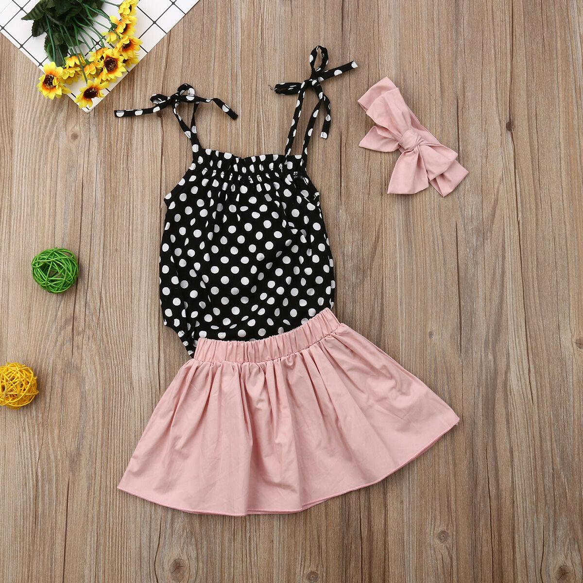 UK 2PCS Toddler Kids Baby Girls Summer Clothes Sling Tops+Skirt Dress Outfit Set