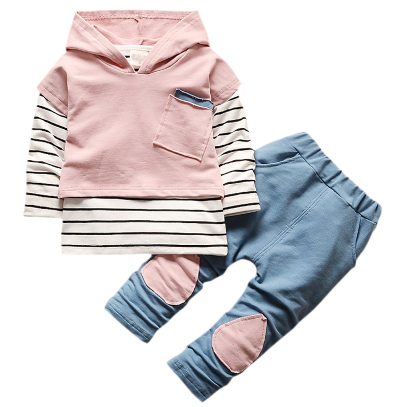Autumn New Toddler Suit Boys Girls Children Clothing Long Sleeve Striped Hoodie Tops + Denim Pants Boys Sets [sa] new original authentic special sales keyence sensor pz 42 spot