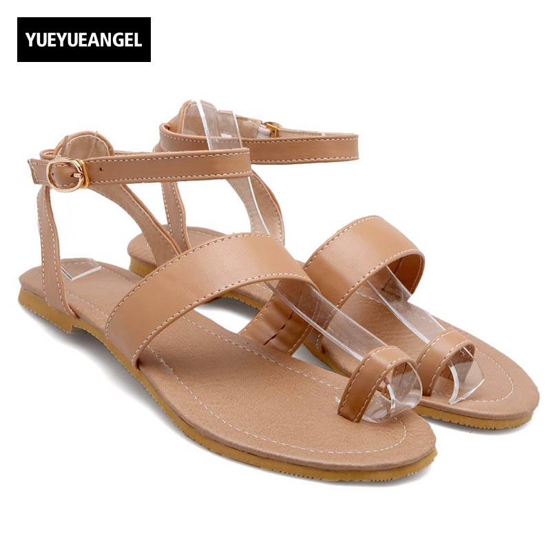 New Arrival Womens Flat Sandals Roman Style Comfort PU Leather Buckle Sandals For Women Casual Concise Summer Sandals Plus Size pu line style buckle rhinestone nice womens sandals