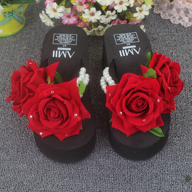 0ab42511b6f red rose summer woman wedge flip flops platform outdoor slipper floral cool  string beaded shoes women Beach Thongs Sandals