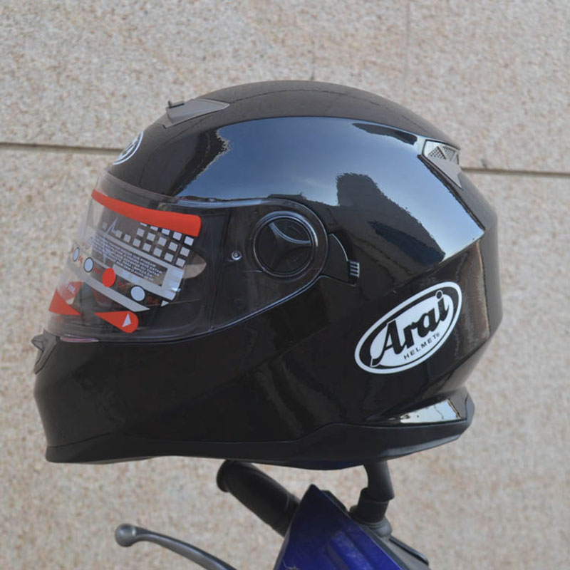 Double Visor Full Face Black Motorcycle Helmet Inside With Small Sunglasses ABS Material Safety Helmet For Men And Women 2017 new yohe full face motorcycle helmet yh 970 double lens motorbike helmets made of abs and pc lens with speed color 4 size
