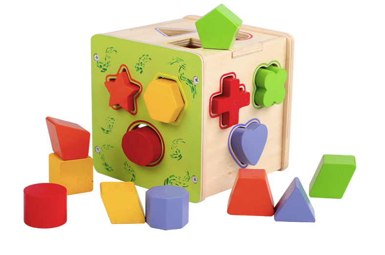 Wooden Geometric Pairing Block Toy Early Education Children's Birthday Present Educational Intelligence Gifts Creative Plaything 2pcs pairing left