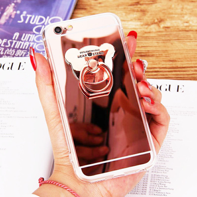 Phone Cases for iphone 7 8 plus 6 6s Luxury Cute Rose Gold Bear Holder Stand Soft TPU Mirror Cover Case for iphone X XS Max XR  1