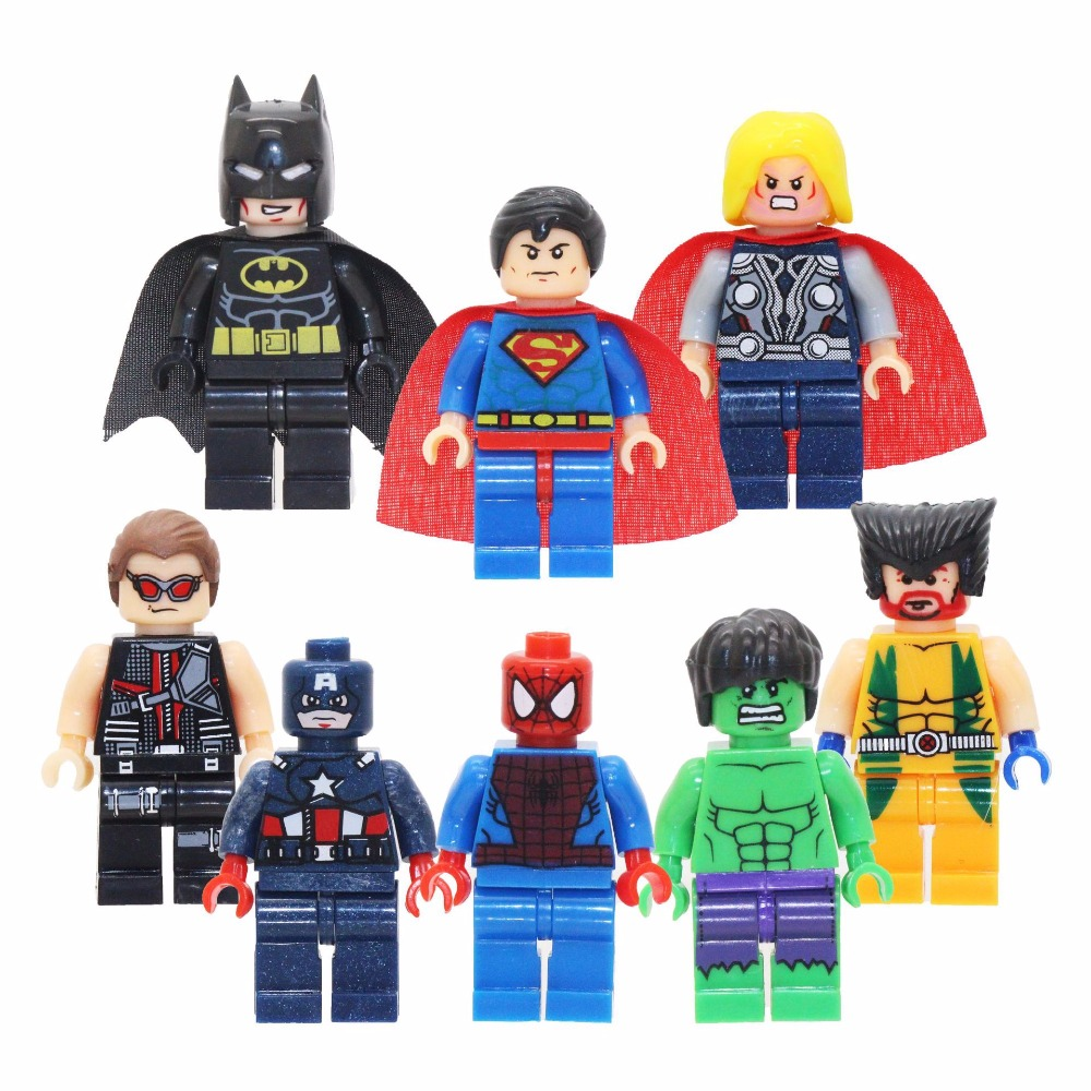 8pcs/lot Super Heroes Spiderman Captain America Iron Man Action Figures Toys For Legoings Kids Children's Toys