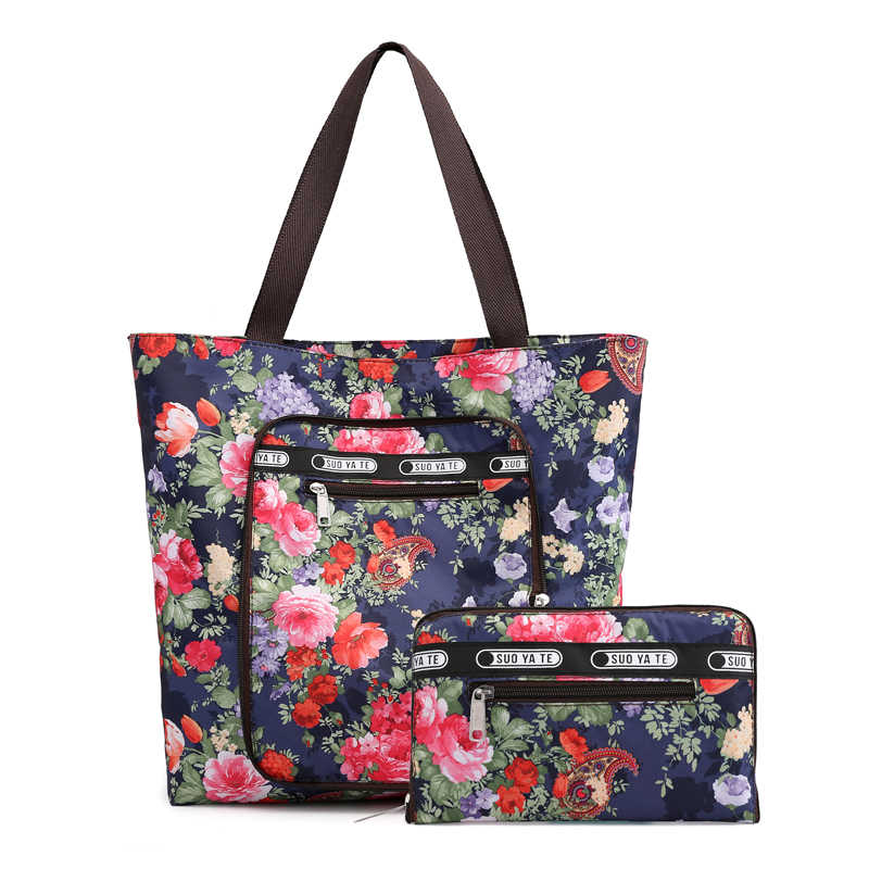 72d5909ce ... 2019 large Capacity Women Reusable Foldable Shopping Bag Nylon Big Lady tote  bag Floral Grocery Pouch ...