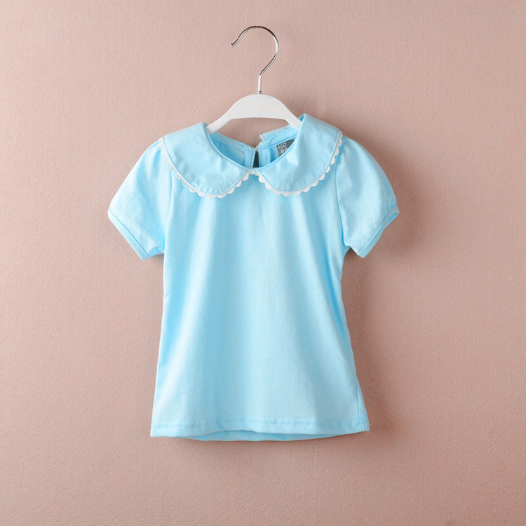 körpə qız t-shirt pambıq qısa kol T-shirt peter pan yaxası alt - Uşaq geyimləri - Fotoqrafiya 2