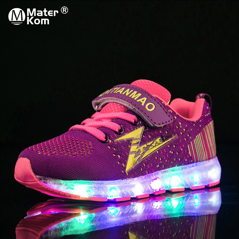 Size 28-37 LED Luminous Kids Shoes For Boys Girls Light Children Luminous Baby Sneakers Mesh Sport Boy Girl Led Light Shoes