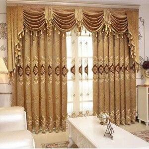 Image 1 - Шторы для гостиной современный балдахин для спальни европейская роскошная посадочная оконная шторка премиум утолщенная шениль с вышивкой