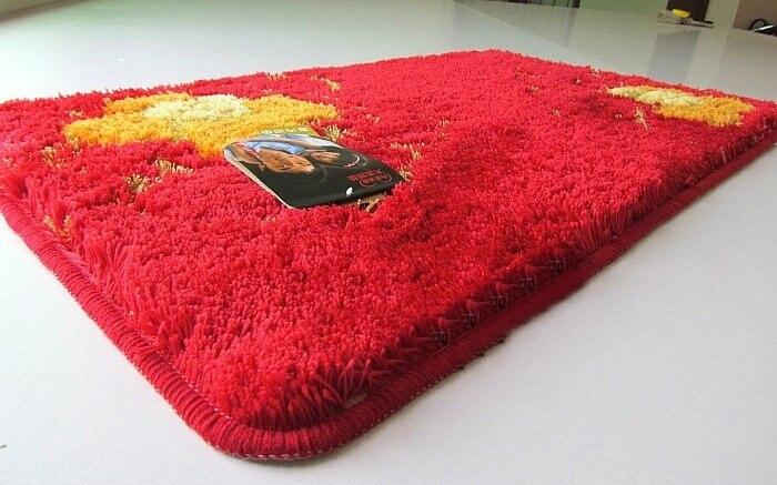 NiceRug Épaississement Salle De Bains antidérapant Tapis Absorbants Rouge Fleurs Imprimer Intérieur Carpet Tapis de Sol Rectangle Cuisine Tapis Tapp - 6