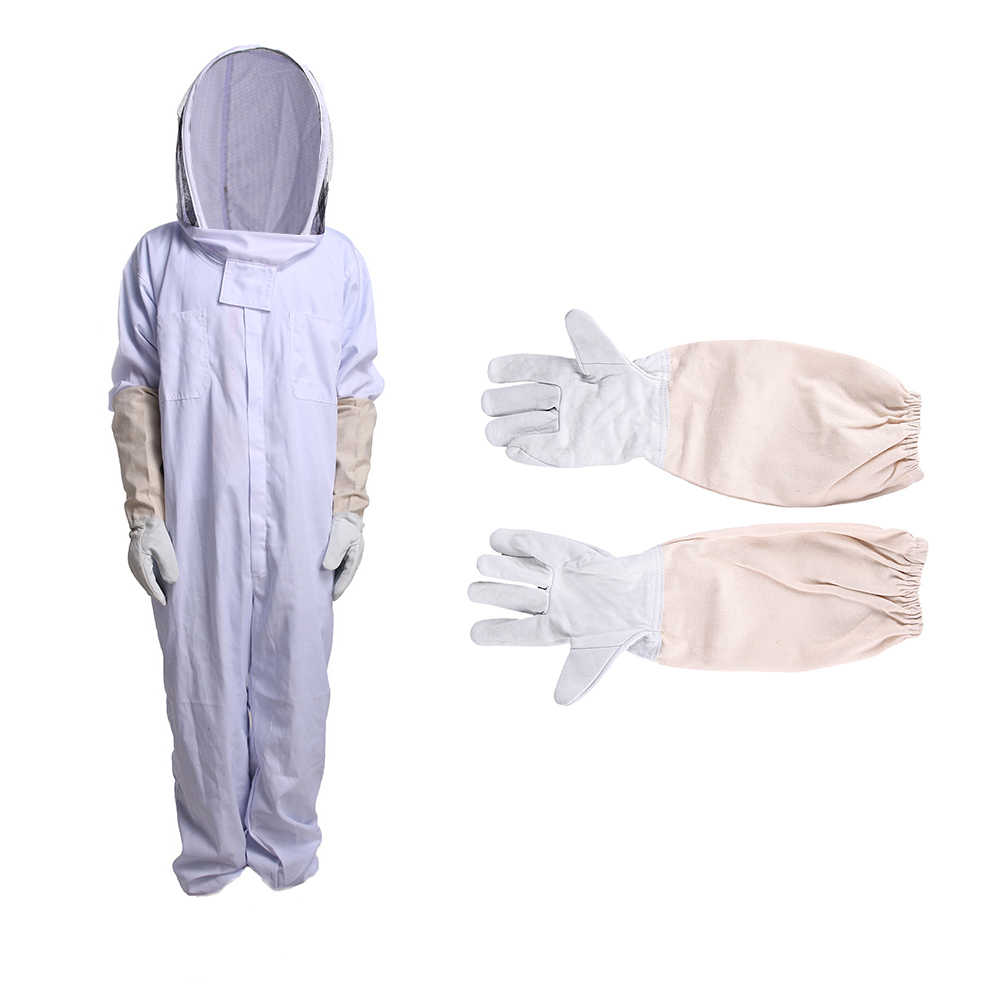 Cotton Full Body Beekeeping Clothing Veil Hood Gloves Hat Clothes Jaket Protective Beekeeping Suit Beekeepers Bee Suit Equipment