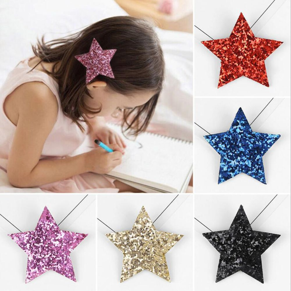 Fashion Shiny Sythetic Leather Star Barrette For Kid Girls Bling Leather Children Hair Clips Toddlers Hairpins Hair Accessories