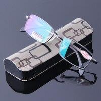 Mens Reading Glasses Brand Gun Gray Full Frame Eyeglasses Aspherical Lens Resin Hypermetropia Diopter Reader Male