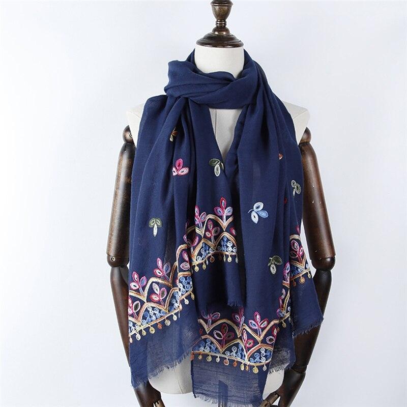 2018 9 colors NEW delicacy embroider flower hijab scarf decor shawl fashion luxury women scarves shawls brand soft muffler