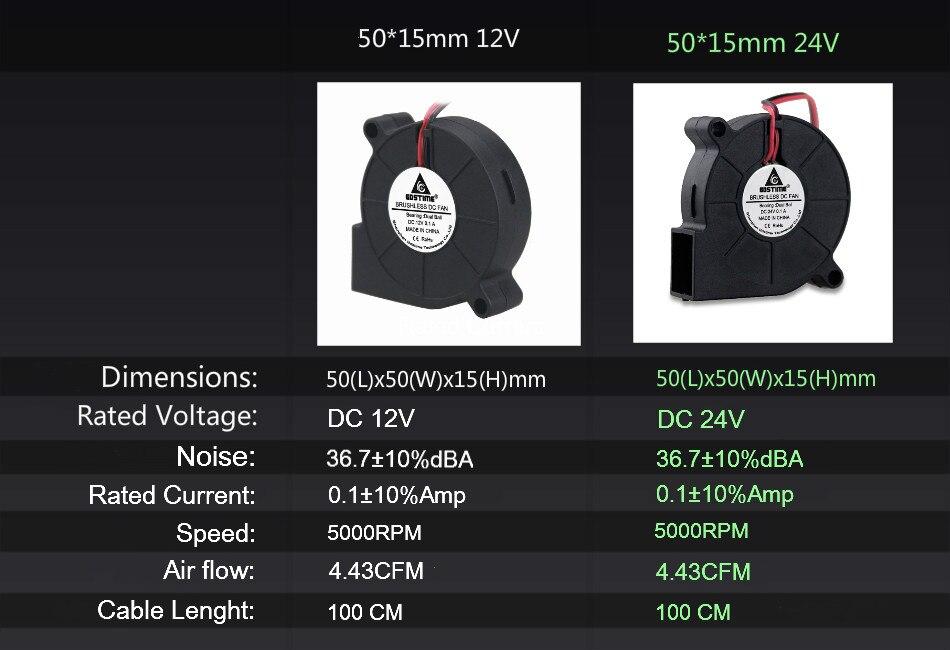 Gdstime 1 шт. двойной шариковый подшипник 12 В 24 В DC вентилятор охлаждения 3D вентилятор для принтера кулер 50 мм x 15 мм 5015 5 см 50x50x15 мм 1 метр провода