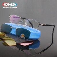 Halb Randlose Brillen Rahmen Männer Optische Gläser Rahmen Mode Polarisierte Sonnenbrille Clip auf Gelb Nachtsicht Gläser Clip
