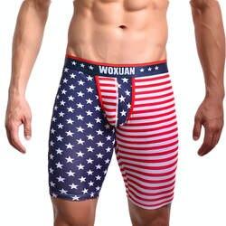 Пикантные Для мужчин мужские трусы-боксеры флаг США полосатый звезды Гей Нижнее белье с принтом с низкой талией для мужчин пять минут