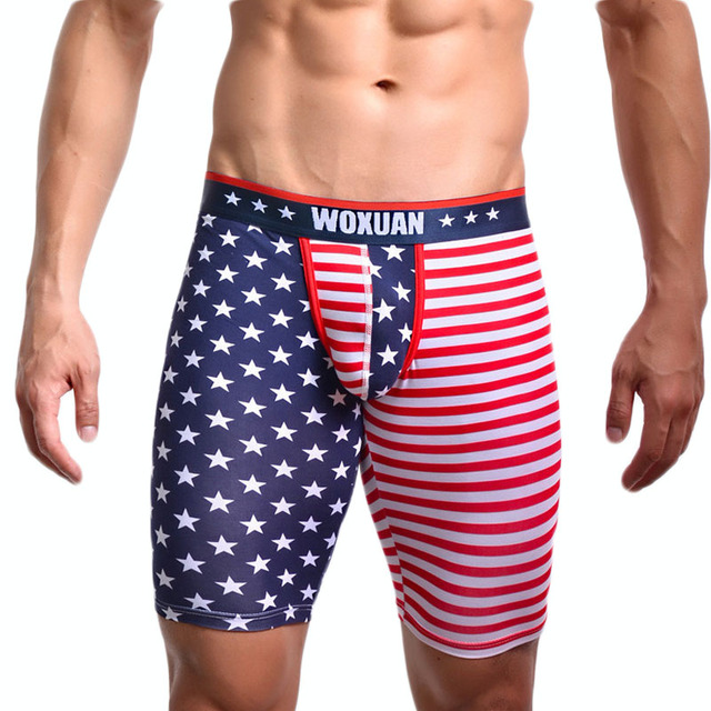 78cad0ec0f74 Sexy Men's Boxers Panties USA Flag Striped Stars Gay Underwear Printed Low  Waist Mens Five Minutes Bikini Male Cotton Boxers