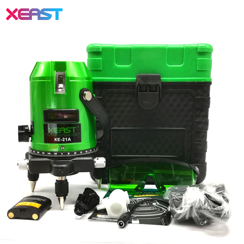 XEAST XE-21A New 5 Lines 6 Points Green Laser Level 4V 1H 360 Rotary Self Leveling Outdoor Tools Tilt Function xeast xe 50r new arrival 5 lines 6 points laser level 360 rotary cross lazer line leveling with tilt function