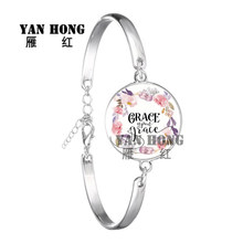 YANHONG  Fashion Psalm Bracelet Art Picture Print Glass Dome Charms Bracelet Bible Verse Quote Jewelry Gift For Christian the lord is near all who call ont to him bible verse psalm quote key chain glass jewelry christian pendant keyring keychain gift