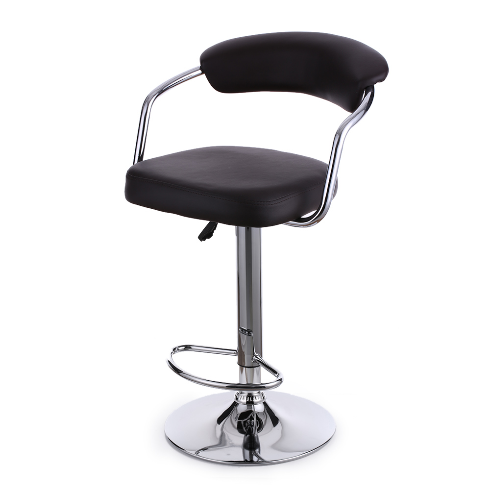 iKayaa US Stock Bar Stool Pneumatic Height Adjustable Swivel Bar Stools Chairs PU Leather Barstools Dinning