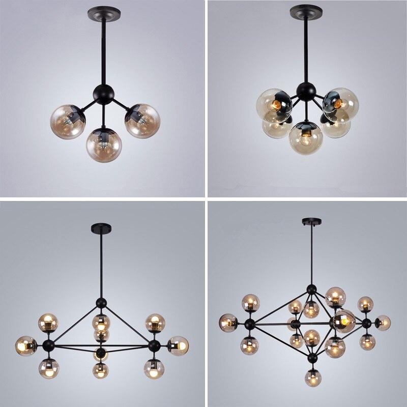 Závěsné světla Černá Žehlička Moderní Svítidla a lucerny Vintage Light Lighting Bar Amber Glass Stropní lampa Kuchyně