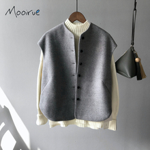 Mooirue Winter Casual Women Woolen Vest Single Button Warm Cashmere Cardigan Grey Khaki Female Coat