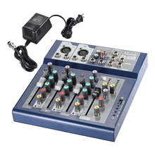 Muslady F4 Professional 4 Channel Digital Mic Line Audio Sound Mixer Mixing Console with USB Input 48V Phantom Power