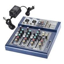 Muslady F4 Professionele 4 Kanaals Digitale Mic Lijn Audio Sound Mixer Mixing Console met USB Ingang 48 V Phantom power