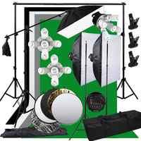 ZUOCHEN 3375W estudio fotográfico Softbox kit de estudio Boom brazo de fondo soporte de luz + 5 en 1 Reflector para fotografía