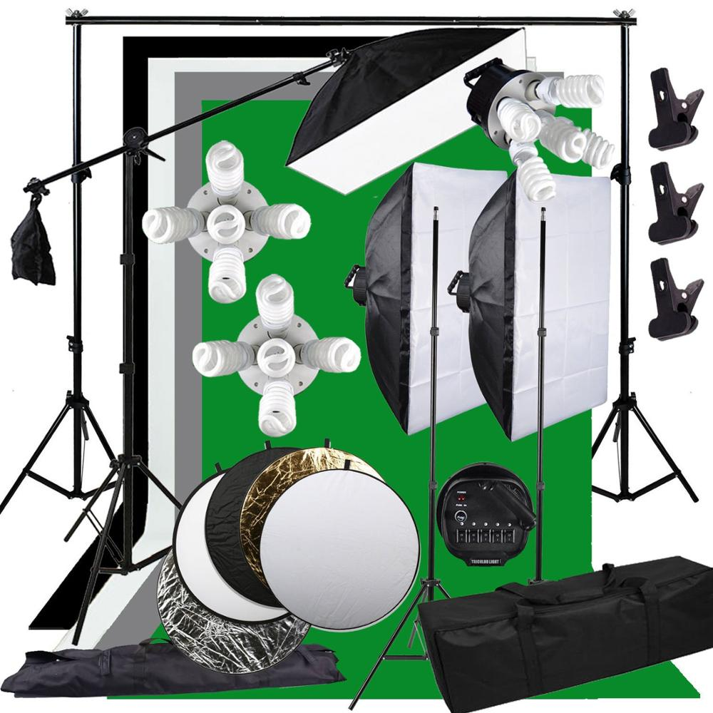 Zuochen 3375 w photo studio softbox studiolighting kit braço boom luz de fundo suporte + 5in1 refletor para fotografia tiro