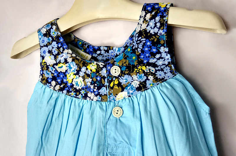 בנות שמלת קיץ ילדים של שמלת כותנה תפרים חדש אופנה תינוק מתוק נסיכת שמלת ילדים פרחוני שמלה