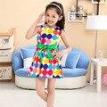Ретро старинные летние девушки рукавов многоцветный горошек печать платья тонкий принцесса ну вечеринку с бантом дети официально в горошек платье