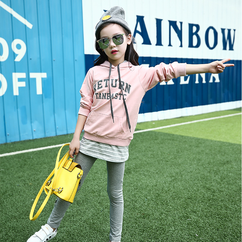 2017 new autumn girls sports sweater suit children cotton two set pupils hooded Korean skirts autumn and winter wear new suit children sweater hooded culottes two piece suit for girls