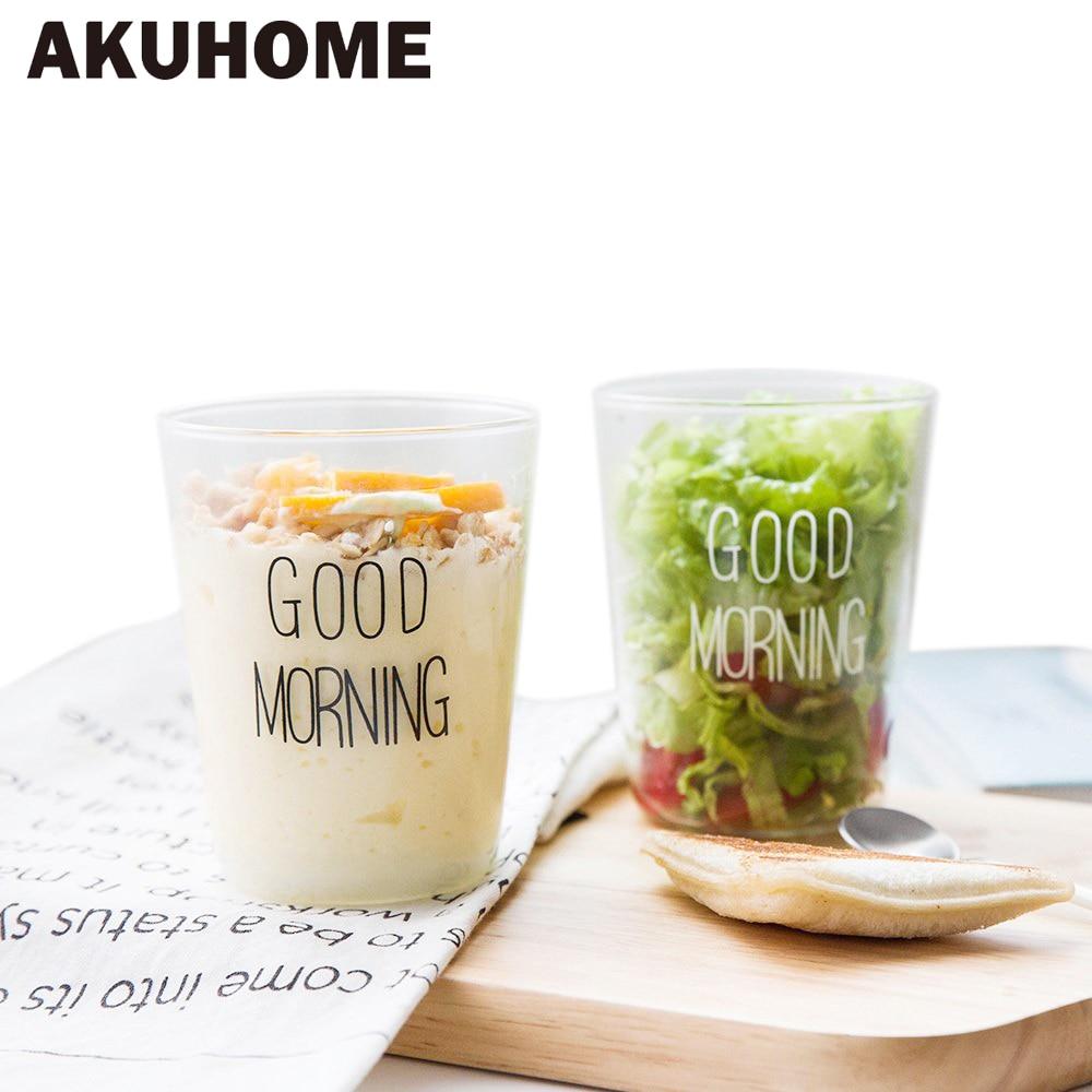 Good Morning Black White Transparent Creative Glass Coffee Tea Drinks Dessert Breakfast  ...