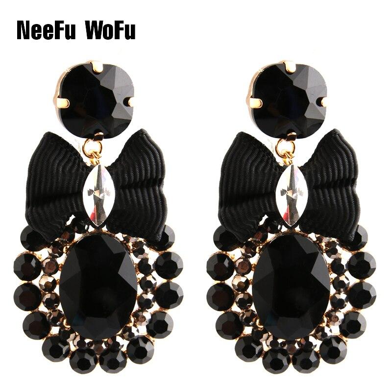 NeeFu WoFu Drop Rhinestone Crystal Tie Big Earring Dangle Zinc alloy Large Long Brinco Printing Ear Accessories Oorbellen