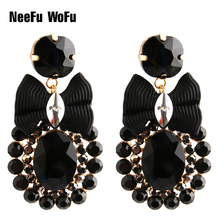 NeeFu WoFu Drop Rhinestone Crystal Tie Big Earring Dangle Zinc alloy Large Long Brinco Printing Ear Accessories Oorbellen