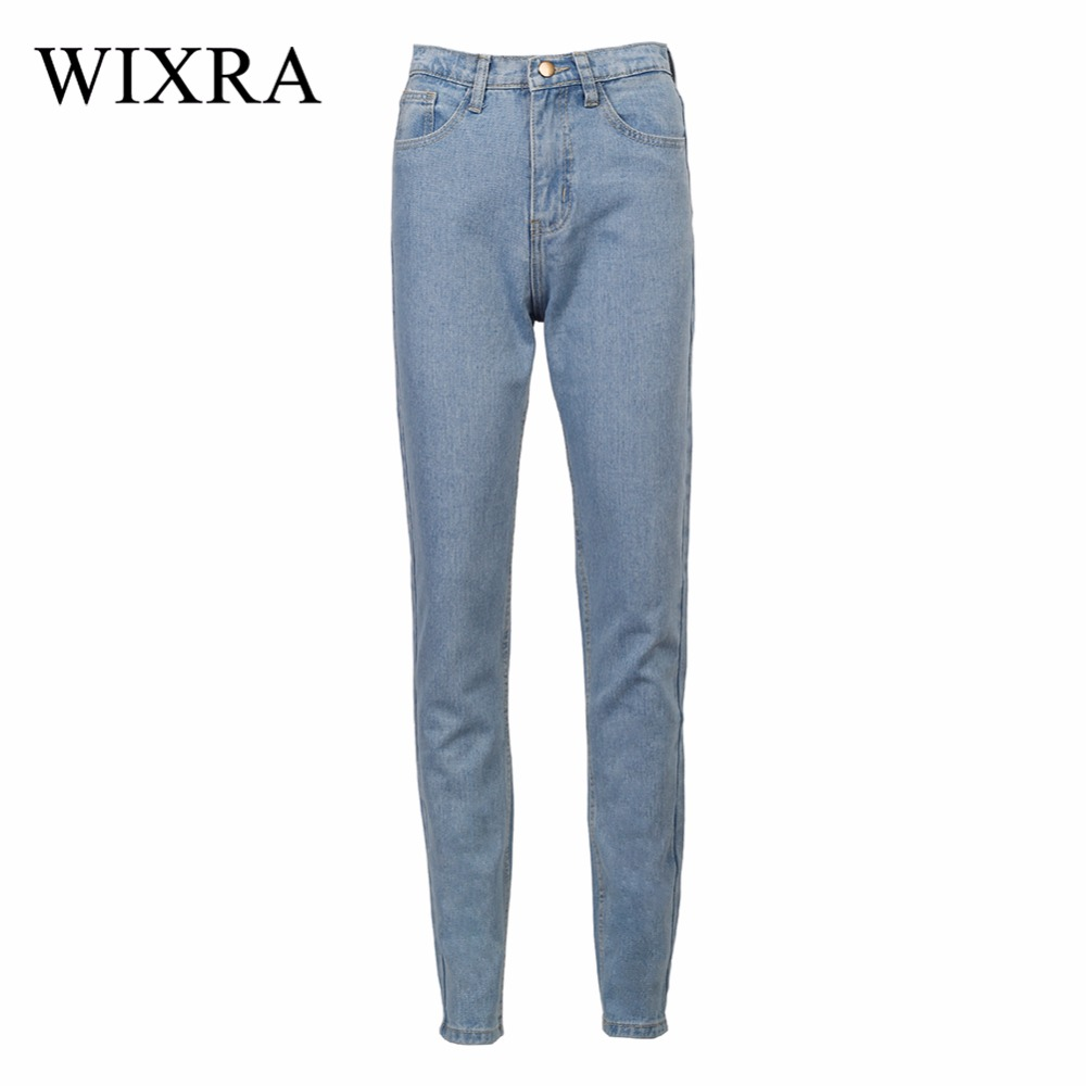 WIXRA Basic Denim Jeans Classic 4 Season Women High Waist Jeans Vintage Mom Style Pencil Jeans